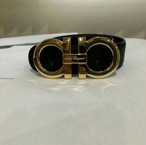 Black & Gold Reversible Salvatore Ferragamo Belt